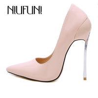NIUFUNI Ladies Sexy ultra High Heels Pointed Toe Party Dress Pumps Fashion Patent Leather 13cm Stilettos Spring Autumn Shoes