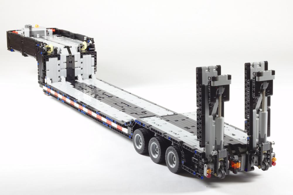 2020  Technic New MOC RC Power Mobile Building Low Loader With Ramps Carriage Towing Head Children's Birthday Gift