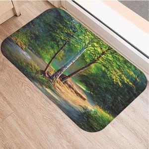 Image 2 - Petit tapis antidérapant motif darbre, souple, 40x60cm, décoration de chambre à coucher, cuisine, salon, salle de bains, tapis de sol