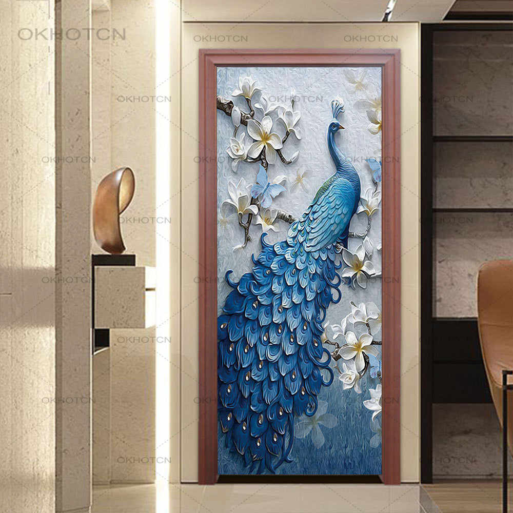 3D Peacock Carving Pattern Self-adhesive Door Stickers Decal Decoration Mural