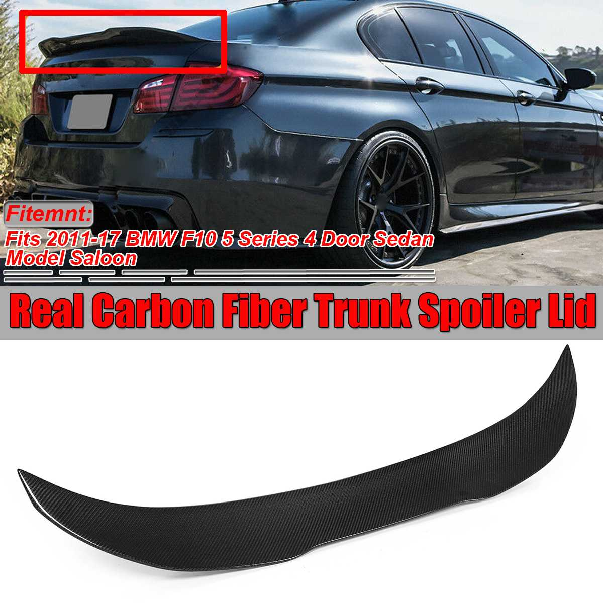 New PSM Style Real Carbon Fiber F10 Car Rear Trunk Boot Lip Spoiler Wing Lid For BMW F10 5 Series 4 Dr Sedan 2011-2017