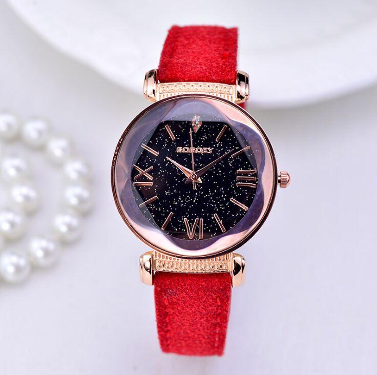 2019 nowych moda marka gogoey Starry Sky skórzane zegarki kobiety panie casual dress quartz zegarek reloj mujer go4417 4