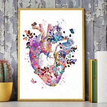 Corazón humano anatomía Vintage póster impresiones medicina estudiante regalo órganos arte acuarela lienzo pintura médicos Oficina Decoración de la pared