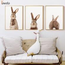 Детская принтом кролика кроликов плакат милые картина с рисунком