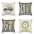 Льняная наволочка для подушки с изображением лимона грузовика, домашняя любовь, 45x45 см, черно-белая клетчатая наволочка для подушки, домашня...