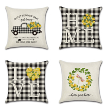 lemon truck home love Linen Cushion Cover 45X45cm Black&White plaid Pillow Case Home Decorative Pillows Cover For Sofa