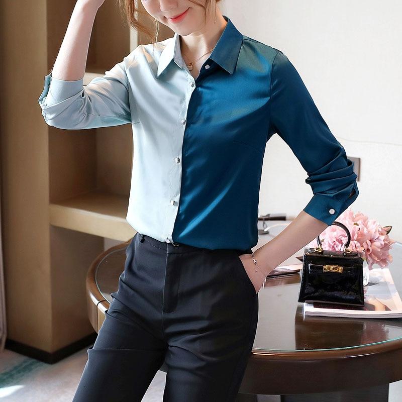 Korean Silk Shirts Women Long Sleeve Satin Shirts Elegant Woman Patchwok Silk Blouse Office Lady Satin Shirt Tops Plus Size XXL