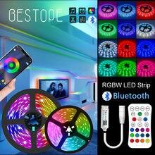 30M 20M Bluetooth RGBWW RGB LED şerit 15M 5050 DC 12V şerit LED ışık şerit RGB sıcak beyaz bant SMD esnek 5M 10M diyot bant