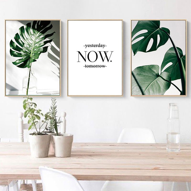 Hbf98f7ab60b74e3fbc29e1cc60f496c3B ART ZONE Nordic Canvas Painting Modern Prints Plant Leaf Art Posters Prints Green Art Wall Pictures Living Room Unframed Poster