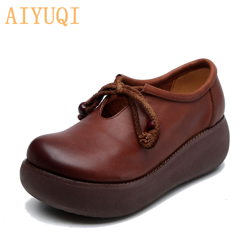 AIYUQI Women Retro Platform Shoes 2019 New Autumn Real Leather Casual Comfortable