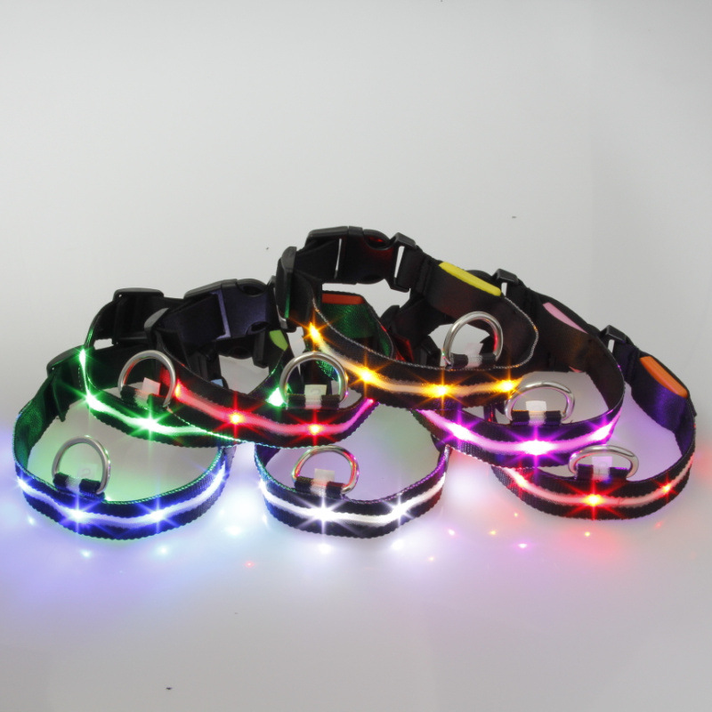 2.5 Cm Width Black-Wire Screen Light Belt LED Luminous Pet Collar 7 PCs Color Suitable Medium And Small Dogs