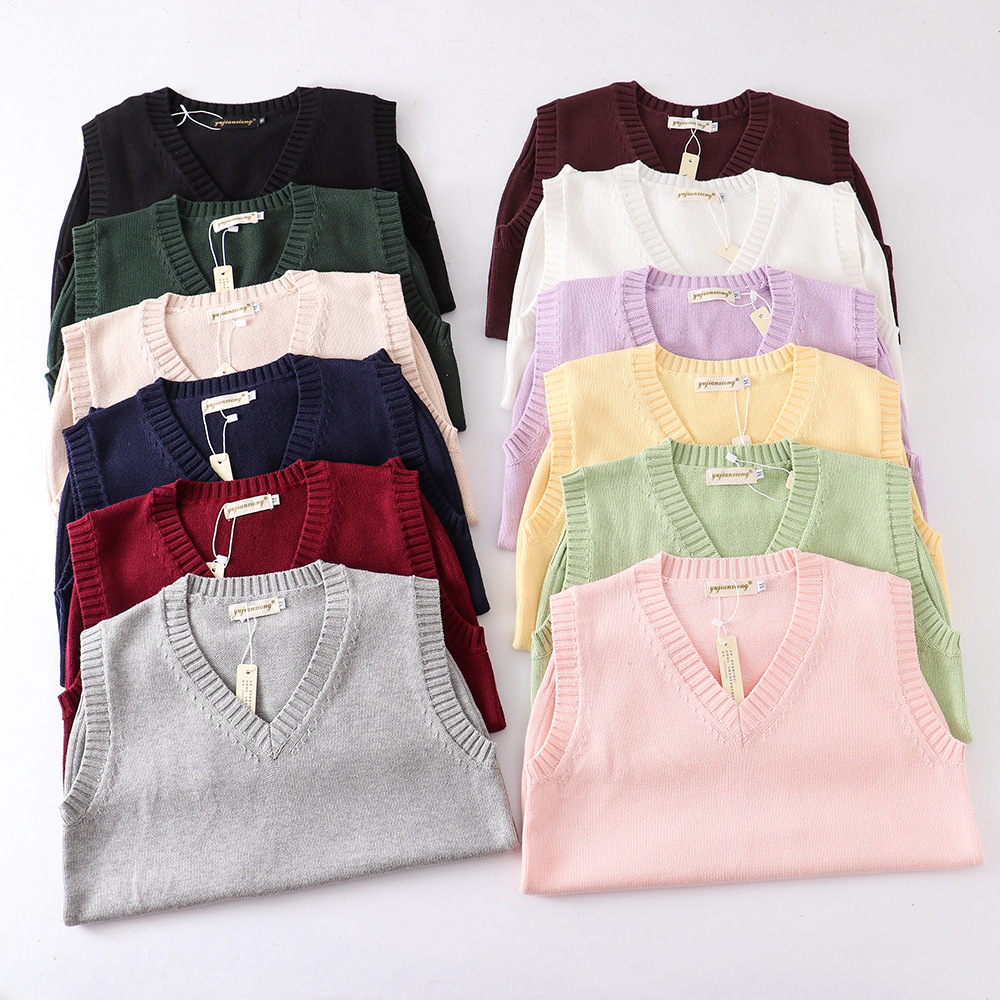 Japanese School JK Uniform Sweater Vest High School Uniform For Girls Boy Cosplay Halloween Winter Anime Vest cute Knitting Coat