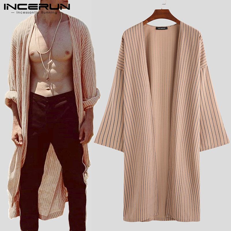 Men Cardigan Striped Long Sleeve Loose Casual Vintage Trench Cloak Mens Jackets Streetwear Longline Outerwear Coats 2020 INCERUN