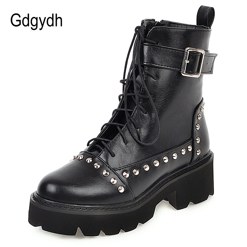 Gdgydh Sexy Rivet Military Boots Women Lace Up Black Leather Ankle Boots Mid Heel Goth Style Short Boots for Autumn High Quality 1