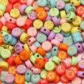 Акриловые бусины карамельных цветов, 7 мм, смешанные узоры, круглые плоские бусины-разделители для изготовления ювелирных изделий, браслето...