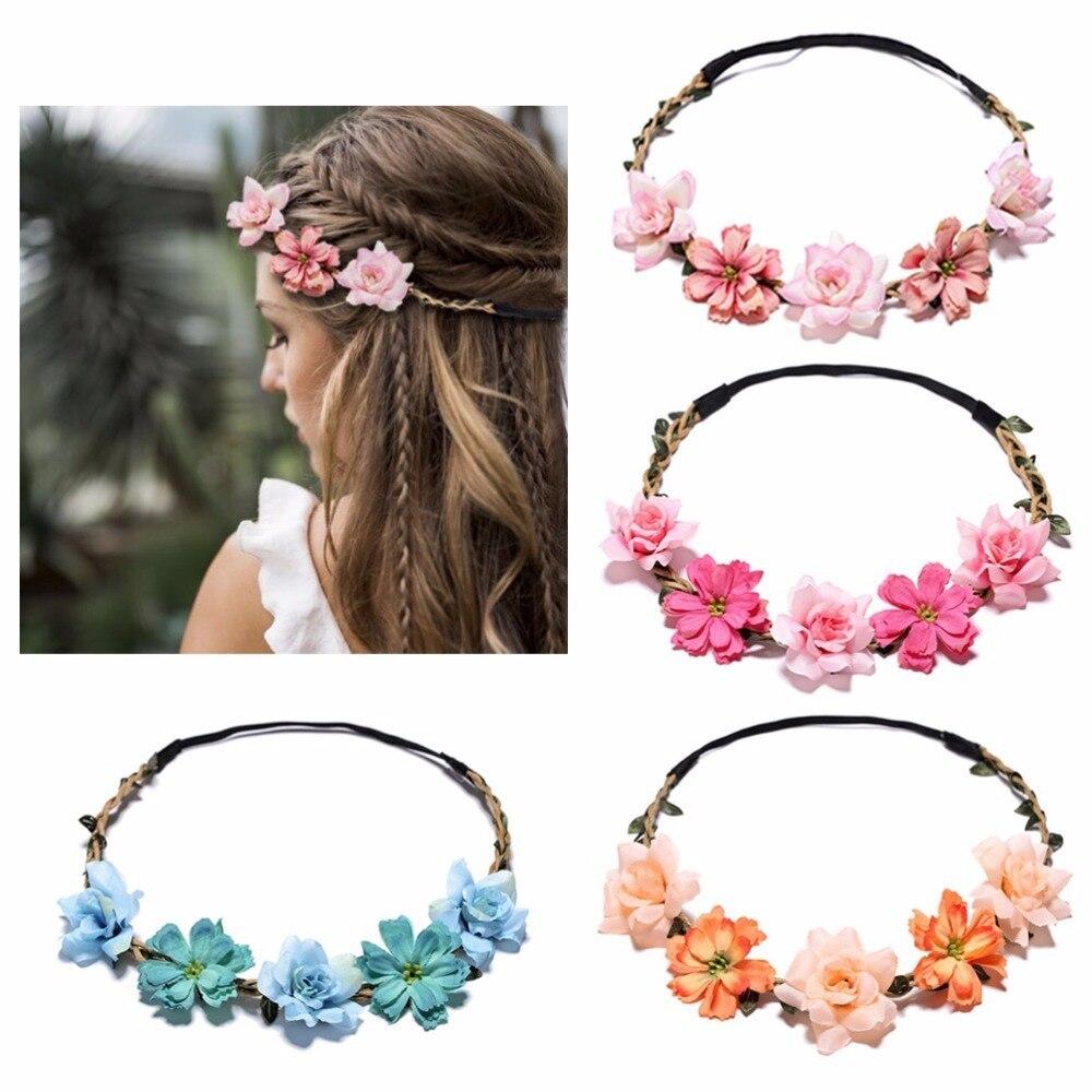 Повязка для волос с цветочной гирляндой для невесты, Свадебный эластичный Цветочный венок для девочек вечерние ринки и свадьбы