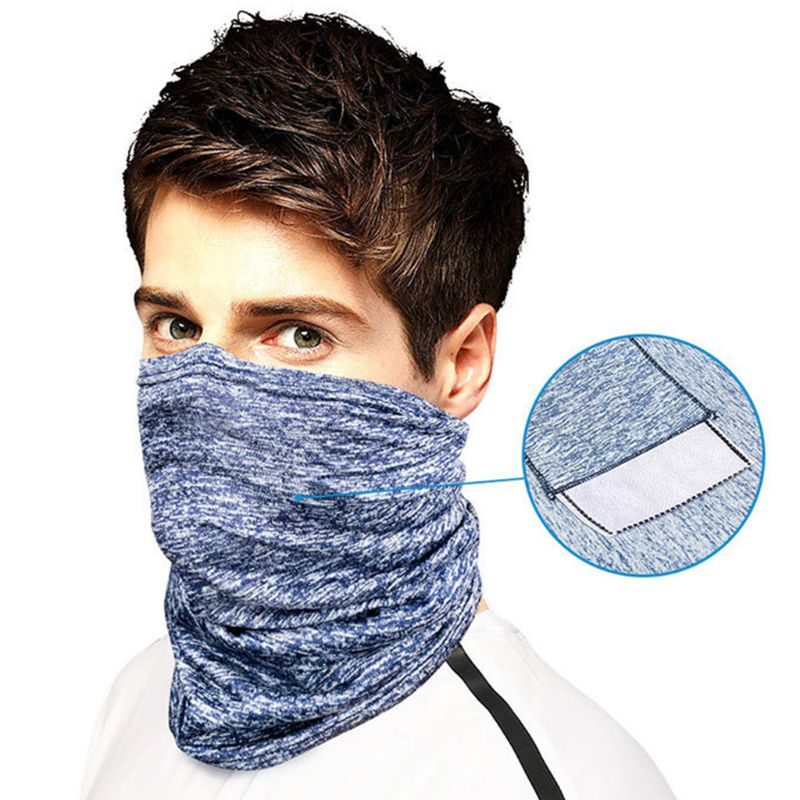 Unisex Seamless Bandana Face Mask Scarf With Filter Pocket Solid Color Outdoor Cycling Dustproof Sunscreen Neck Gaiter