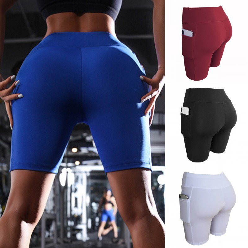 M Women's Shorts Fashion New Side Pockets Sweatpants Solid Color Elastic Waist Fitness Running Casual Five-point Clothe