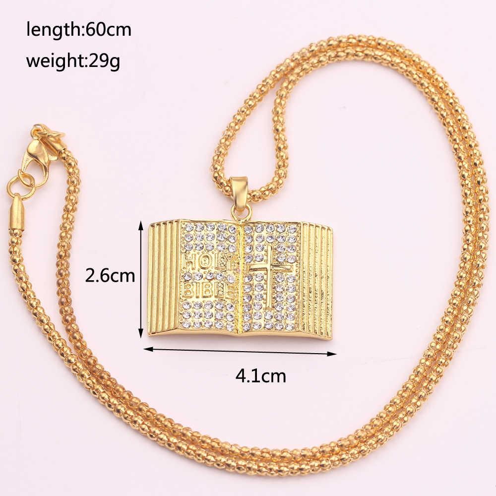 Hip Hop jezus ze stali nierdzewnej stalowy wisiorek naszyjniki w stylu Vintage złoty kolor Iced Out Bling całkowicie wyłożone kryształkami naszyjnik dla kobiet mężczyzn biżuteria