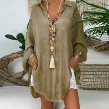 Cardigan à manches longues en coton et lin pour femme, chemise à boutons, couleur unie, ample, col en V, automne