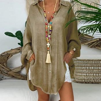 Long Sleeve Cotton Linen Blouses Shirts Button Solid Loose Female Tunic Casual V Neck Plus Size Autumn Cardigan Women Blouses