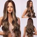 Женские длинные волнистые синтетические парики с эффектом омбре, темно-коричневые светлые волосы, термостойкие парики на каждый день