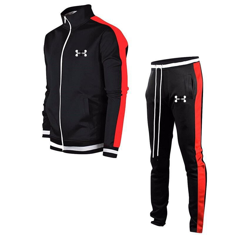 2020 Brand Same Outdoor Sport Style Men's Tracksuit Zip-up Jacket + Elastic Trousers Jogging Solid Color Printed Sports Suit