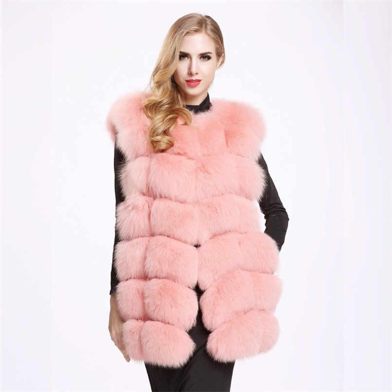 2019 nowe futra z lisa kobiet w dużych rozmiarach kurtka ze sztucznego futra i kamizelka bordowy biały czarny szary Furry pluszowy płaszcz na jesień zima