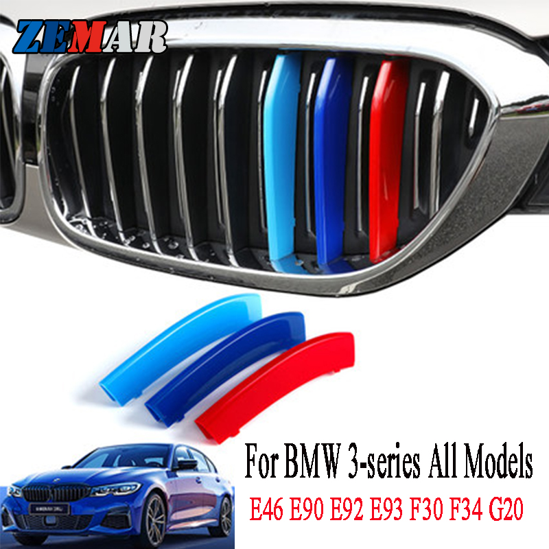 3pcs ABS For BMW G20 E90 E91 E92 E93 F30 F34 E46 Coupe 3 Series GT Car Racing Grille Strip Trim Clip M Performance Accessories