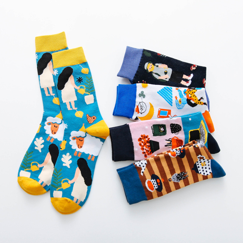 2019 Autumn New Colorful Creative Socks Women Socks Trend Cartoon Printing Crew Socks Non-slip Breathable Deodorant Comfortable