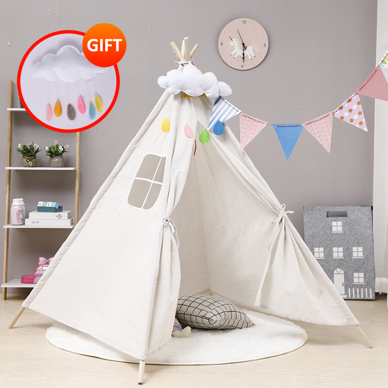 Toy Tent Indoor And Outdoor Kids Tent  Portable Teepee Indian Tipi Tent For Children Free Gift Cloud Give Baby Christmas Present