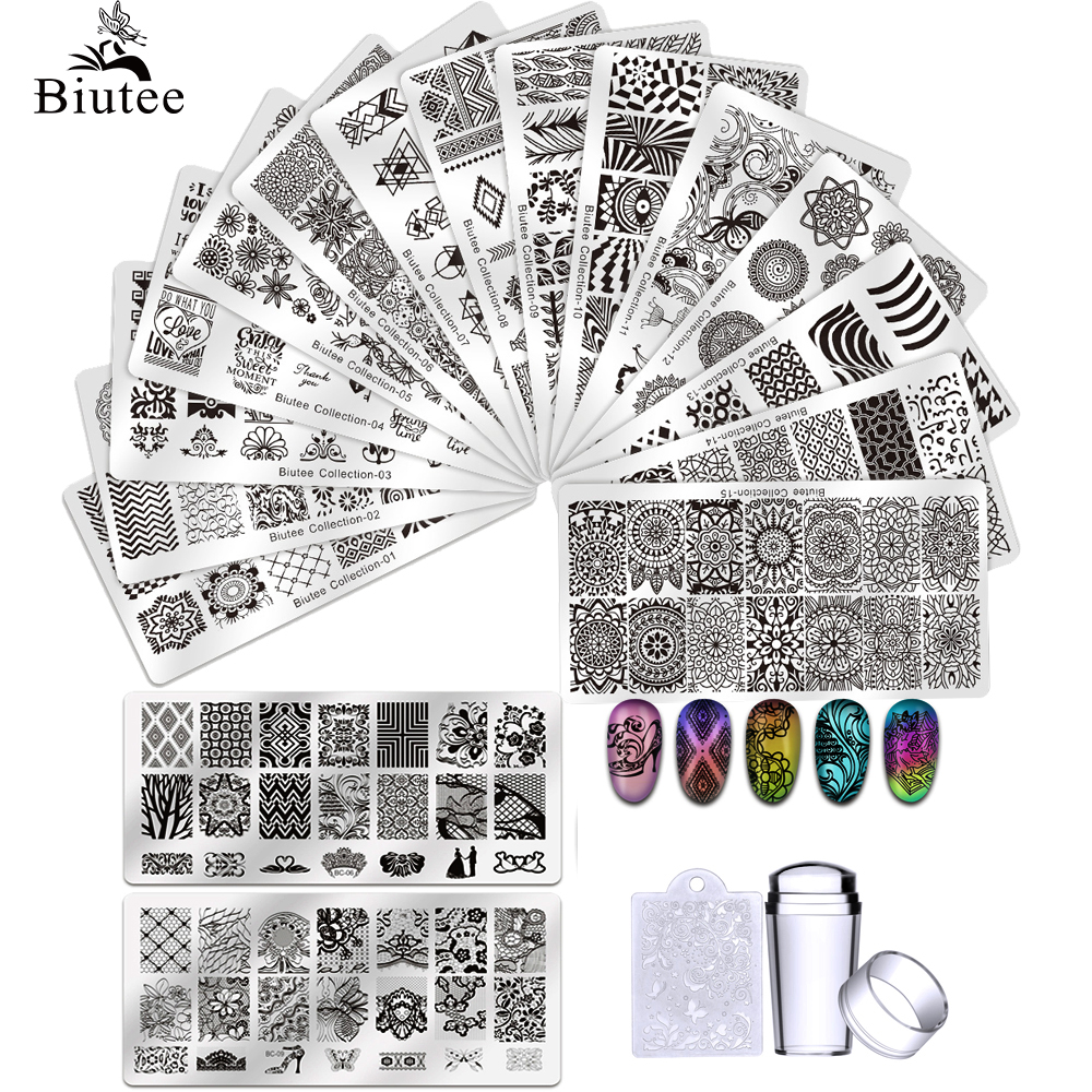 Biutee 12*6 см шаблоны для дизайна ногтей штамповочная пластина дизайн цветок животное стекло Температура кружева штамп шаблоны lates изображение
