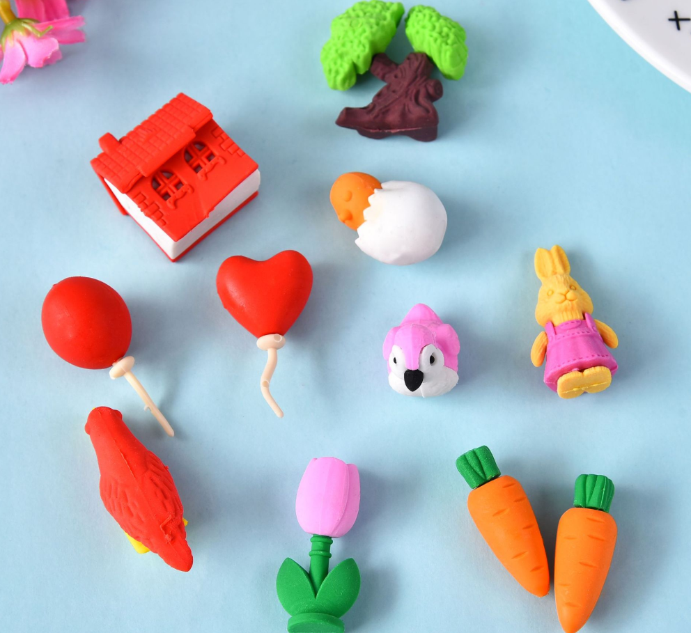 Eraser Set TPR Rubber Cute Bird Rabbit Balloon Plant Carrot House Pencil Erasers Stationery For Kids Gifts School Supplies Prize
