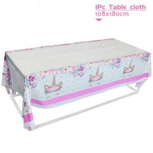 Image 5 - Platos de vasos desechables para fiesta de cumpleaños niños niñas, vajilla de unicornio de feliz cumpleaños, rosa, suministros de fiesta, unicornio