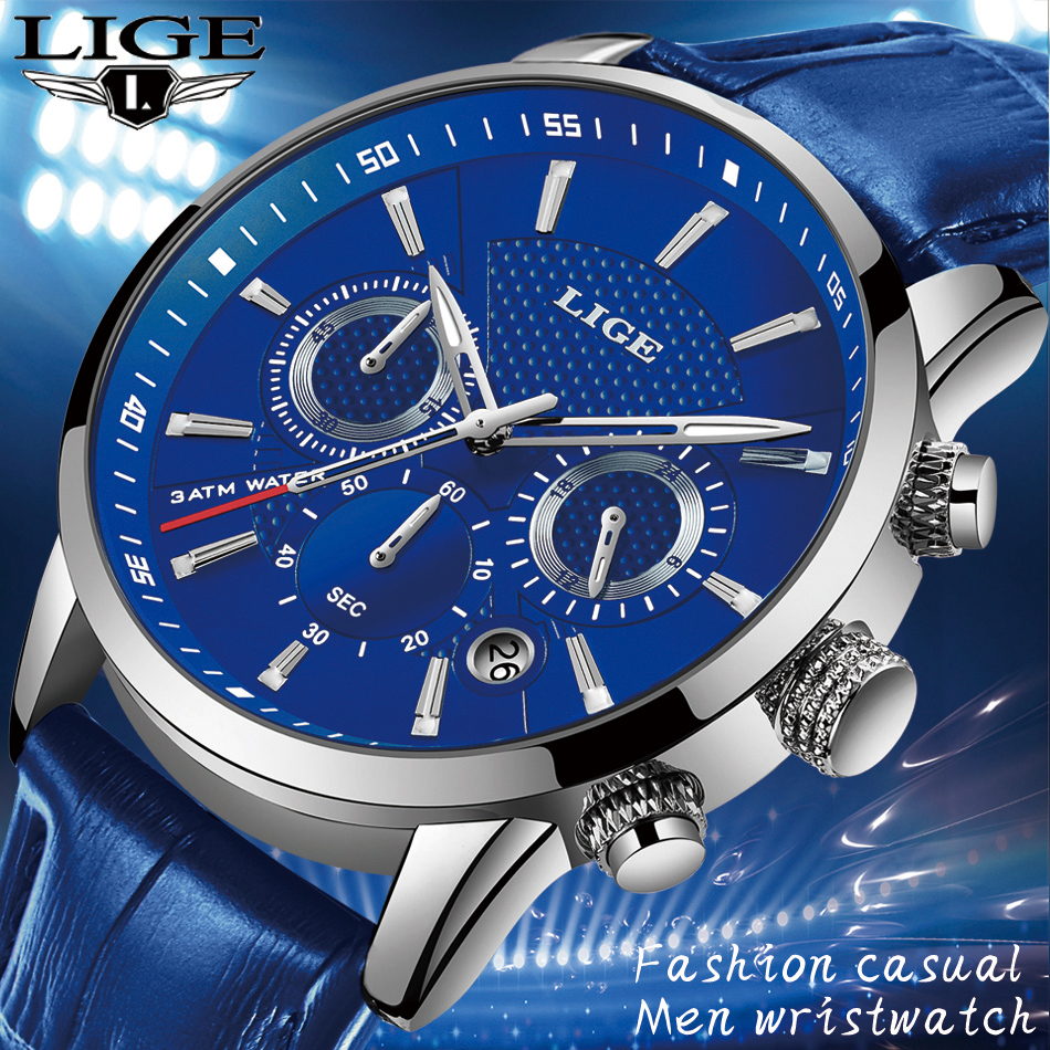Hbf9a6f8e1211438899fba56f82f8d5572 LIGE Fashion Mens Watches Top Brand Luuxury Blue Quartz Clock Male Casual Leather Waterproof Sport Chronograph Relogio Masculino
