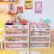Caja de almacenamiento transparente de gran capacidad para cajones, caja de plástico para Notebook, estante de lápiz labial cosmético, papelería para escuela y oficina