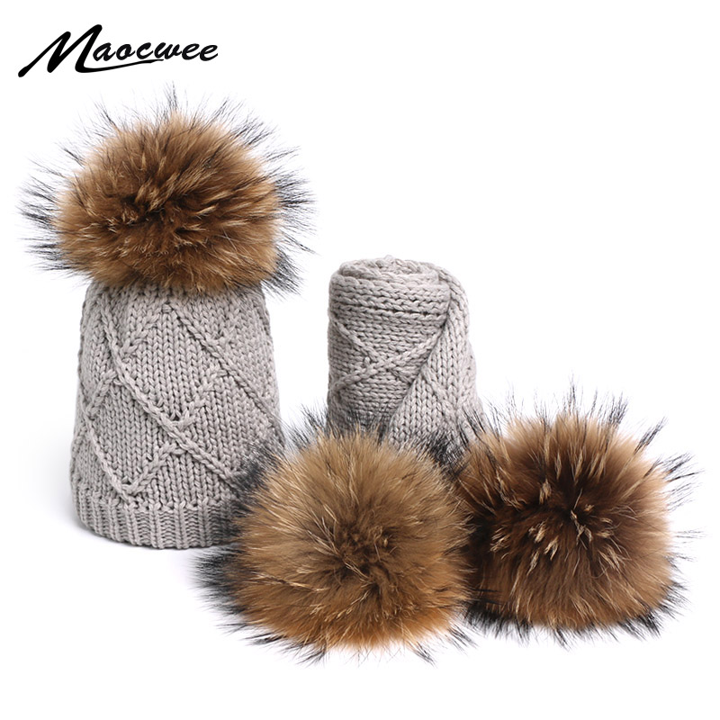 Scarf Beanies Sets Cute Children Pompon Hat And Scarves Winter Outdoor Knitted Caps For Child Windproof Warm Girl's Beanie Hats