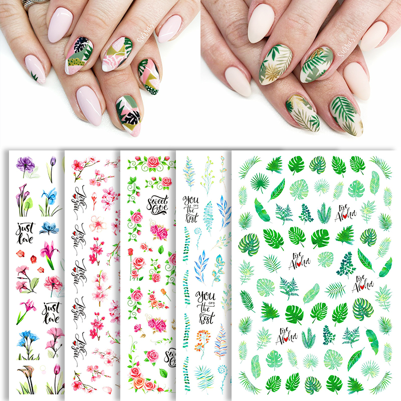 1 Sheet 3D Nail Sticker With Colorful Flowers And Leaves Tropical Beach Style Nail Sticker DIY Nail Art Accessories|Stickers & Decals|   - AliExpress