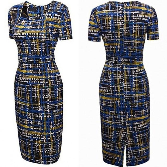 Women Short Sleeve Lady Plaid Print Pencil Dress Party Dresses Elegant Dinner Dress 5