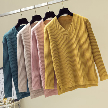 Fashion V Neck Sweater Women 2019 Winter Casual Knitted Pullover Autumn Top Solid Long Sleeve Cashmere Jumper Pull Femme double v neck fluted sleeve jumper