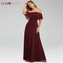 Сексуальные бордовые вечерние платья Ever Pretty EP00724BD А-силуэта с открытыми плечами и оборками эластичные длинные вечерние платья Abiye Gece Elbisesi