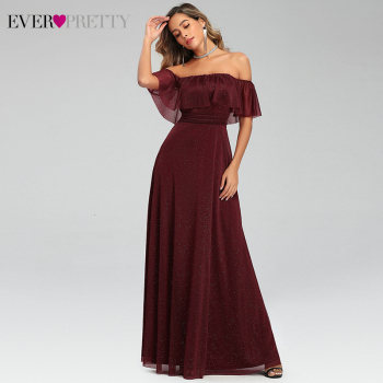 Sexy Burgundy Evening Dresses Ever Pretty EP00724BD A-Line Off Shoulder Ruffles Stretchy Long Party Gowns Abiye Gece Elbisesi