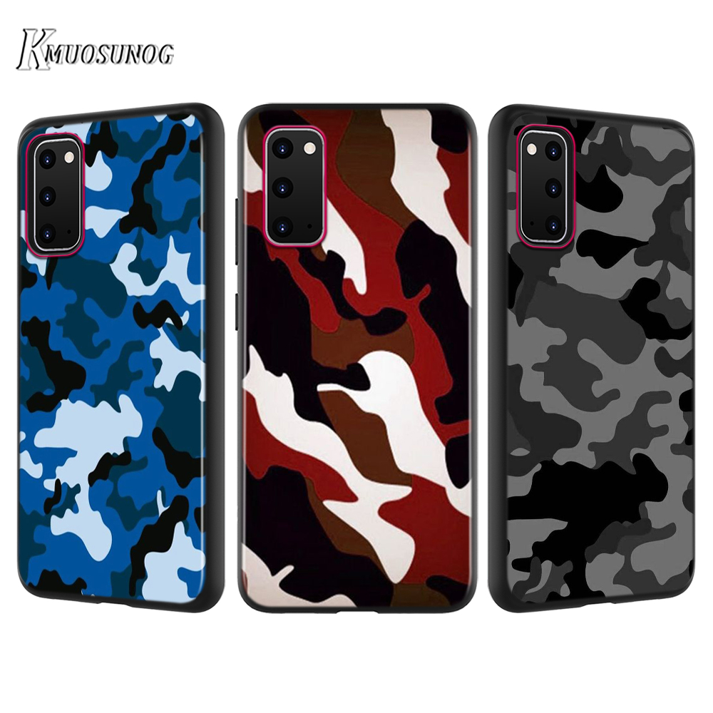Black Cover Camouflage Camo Army For Samsung Galaxy A01 A21 A81 A91 A71 A51 S20 S10 Note 10 Lite Ultra Plus Phone Case