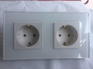 Image 2 - Frete grátis, schuko de tomada dupla ue, painel de vidro cristal grande, saída padrão KP002EU W da ue