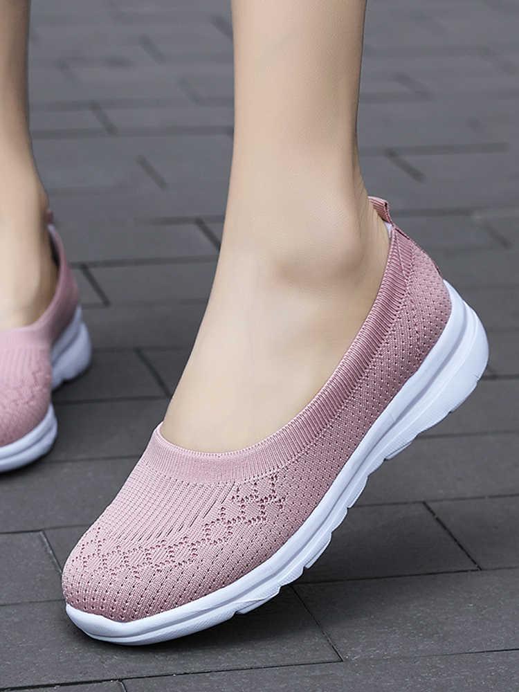 2020 여성 운동화 패션 양말 신발 캐주얼 화이트 스니커즈 여름 니트 가황 신발 여성 트레이너 Tenis Feminino