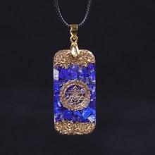 Pingente de energia de orgonite natural lapis lazuli reiki energia colar misterioso resina chakra pedra crescimento negócio amuleto