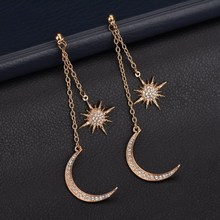 A089 Crystal Vintage Star Dangle Earrings Asymmetrical Girl With Long For Women Droplets Tassel