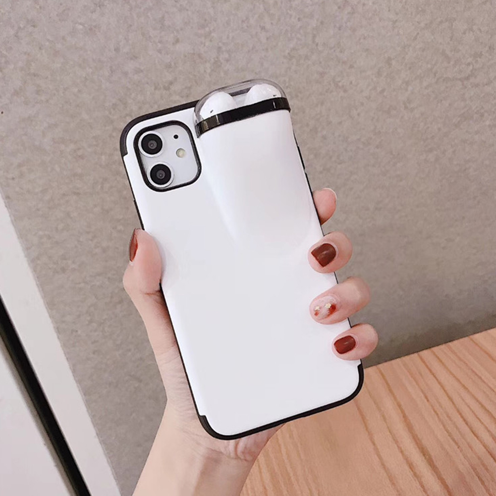 For Iphone 11 Pro Max 2 In 1 Phone Case Earphone Storage Box For
