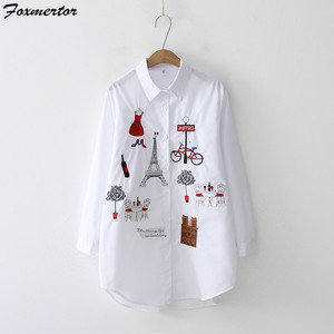 Image 3 - Модная вышитая женская блузка , рубашка , осень 2019, мультяшная вышивка, женские блузки , свободный верх, длинный рукав, белая рубашка , блузы