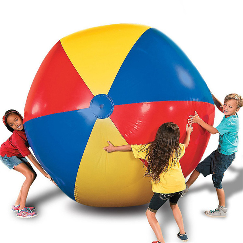 150cm 59inch Gaint Inflatable Beach Ball Charm Super Large Colorful Volleyball For Children Adults Outdoor Lawn Play Games Toys